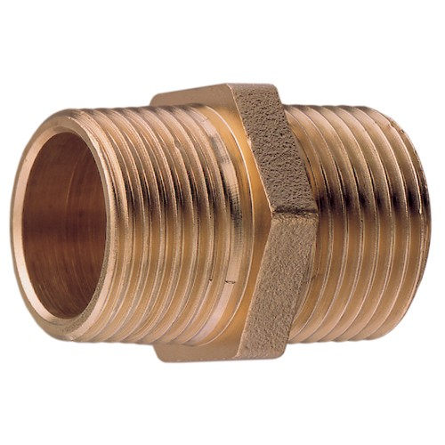 "Bronze Equal Hex Nipple 1 1/2"" BSPT"