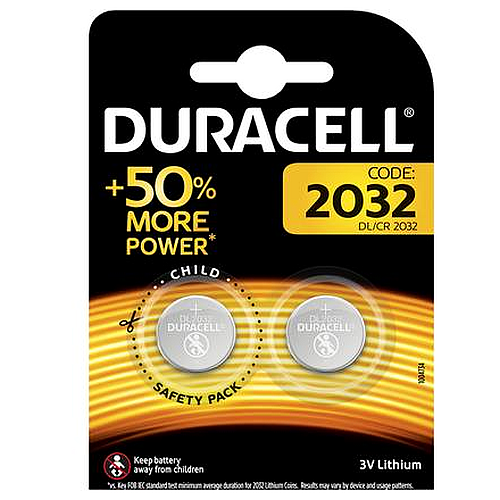 Duracell 2032 3V Lithium Coin Cell Battery (2 Pack)